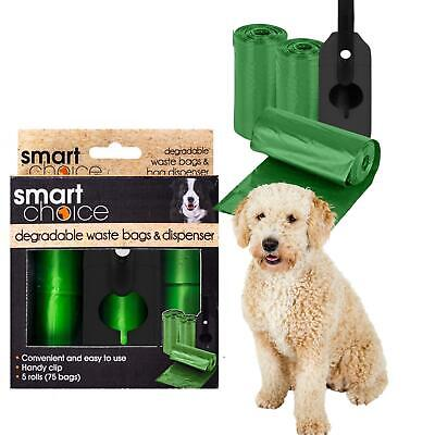 75 Dog Pet Poo Waste Bags Dispenser Green Biodegradable Strong Smart Choice