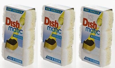 9 x Dishmatic White Heads Non-Scratch Dish Matique & Dish Matic 3 Packs Of 3