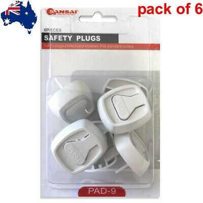 6 pc Baby Child Power Point Cover Board Safety Plugs Protective Outlet NZ AU