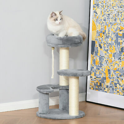 """26"""" Cat Scratching Tree Kitty Activity Center 2 Perch w/ Sisal Rope Grey"""