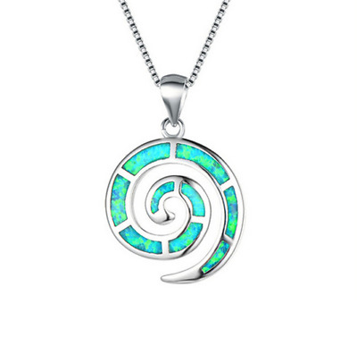 Fashion Woman 925 Silver Mermaid Green Fire Opal Charm Pendant Necklace Chain //