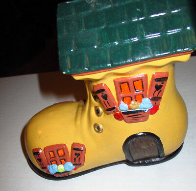 Shoe House Bank Coin Piggy Bank Hand painted Ceramic Boot