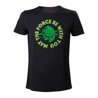 Mens Star Wars Yoda May the Force Be with You Black T-shirt - Crew Neck Tee