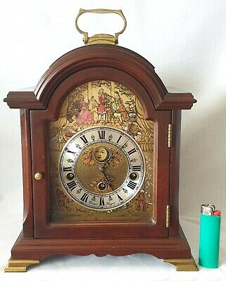 Christian Huygens Clock Westminster Chimes Moon Dial Key Wind 8 Day Vintage
