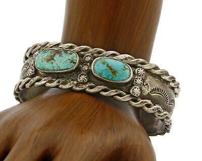C. 1940-50's Navajo Old Pawn Natural Turquoise Handmade SOLID Silver Cuff