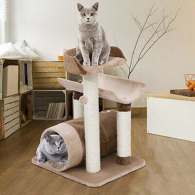 28-inch Cat Tree Scratcher Post Pet House Tunnel w/ Toy