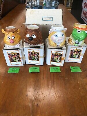 Complete Set MUPPET NEWS By SIGMA Jim Henson Coffee Set Kermit Pig Fozzie Rolf