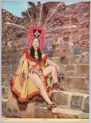 Vintage 1950s Rare Art Deco Mexican Pin-Up Poster Fine Photo Litho Aztec Goddess