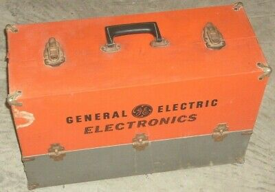 Vintage General Electric Electronics Tool Box w Glass Conductor Tubes & Parts