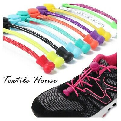 No Tie Shoe Laces Coloured Shoelaces Elastic Lock Trainers Boot Running Quality
