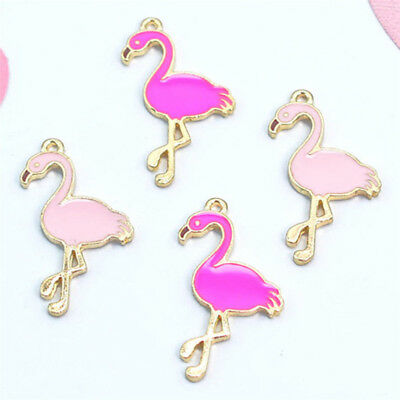 10 Pcs Enamel Flamingo Pendant Charms For DIY Necklace Bracelet Jewelry Mar G cw