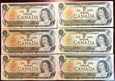 Lot of 6x Bank of Canada 1973 $1 One Dollar Bills - Circulated