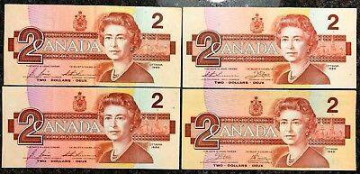 Lot of 4x 1986 Bank of Canada $2 Two Dollar Bills - Lightly Circulated