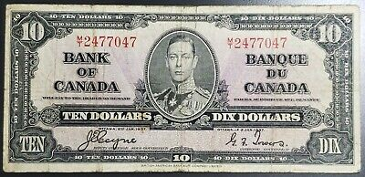 1937 Bank of Canada $10 Ten Dollar Banknote - Special Prefix M/T
