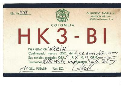 QSL 1947 Colombia Stamps   radio  card