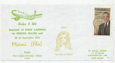 Timbre Avion Aviation First Landing On Usa Airbus A-300 Trinidad-Miami 1973