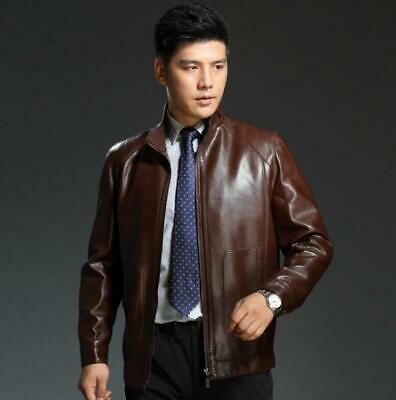 Mens Casual Zipper Real Leather Fall Winter Business Jacket Coat Stand Collar Sz