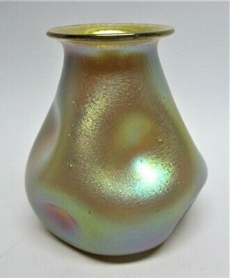 Genuine LOETZ Gold Vase  Silberibis Decor  c. 1900 antique art glass