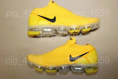 Men's Nike Air Vapormax Flyknit Moc 2 Laceless Size 9.5 Yellow Black Vapor Max