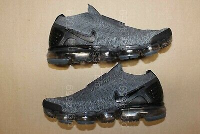 Men's Nike Air Vapormax Flyknit Moc 2  Laceless Size 8.5 Gray Black Vapor Max