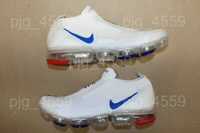 Men's Nike Air Vapormax Flyknit Moc 2  Laceless Size 8.5 White Blue Red Vapor