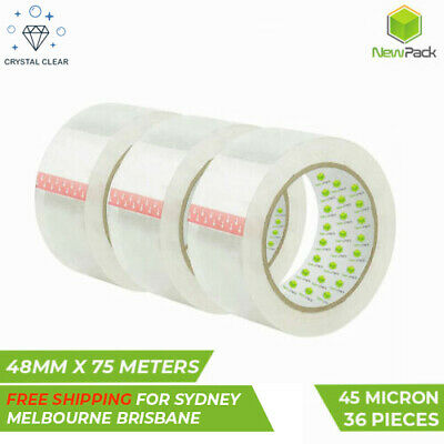 36 Pcs Clear Packing tape Packaging 48mmX75 Meter transparent 45 Micron Sticky