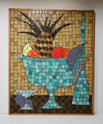 Mid Century 1960's Mosaic Art Turquoise Abstract Picture Large