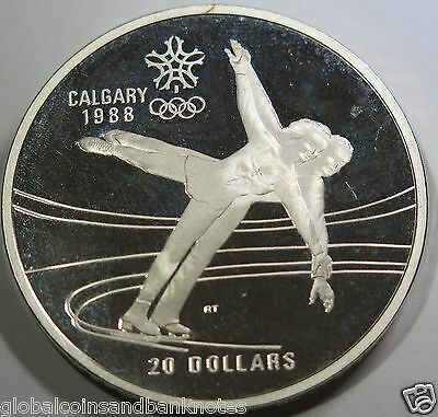 "Canada 1987 - 1988 Winter Olympics ""Figure Skating"" Silver Proof One Dollar"