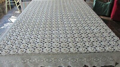 Vintage Rectangle Beige heavy Lace Cotton Tablecloth 203cms x 150 cms  lovely