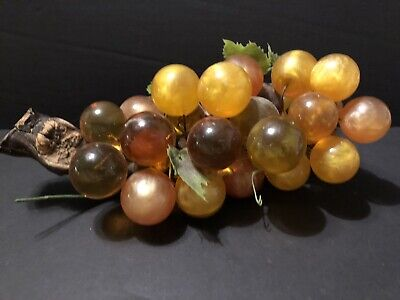Vintage Retro Bunch of Lucite Grapes on Wood stem  Mid Century 1960's