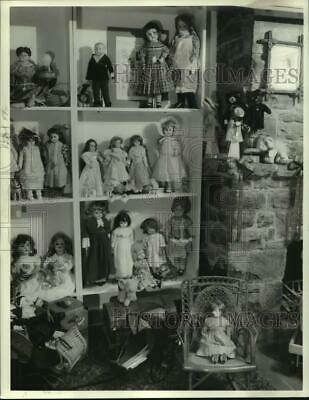 1986 Press Photo Doll Display at Carriage House Dolls and Toys Shop in Syracuse