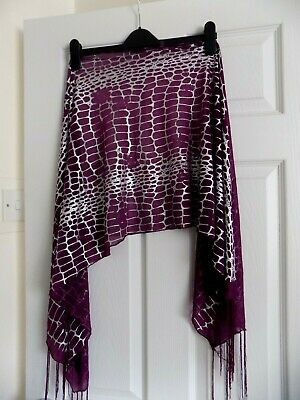 Womans Scarf Purple & Silver Sheer Scarf Wrap Shawl Fringed 18 X 60 Ins Approx