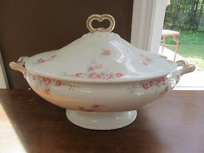 Vintage Wm Guerin Limoges France Soup Tureen Pink Rose Garland Bow Finial