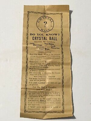 Early 1900's Crystal Ball Directions with Numbered Results Fortune Telling