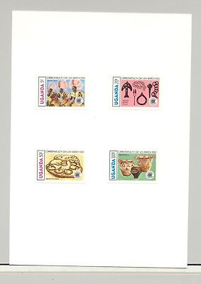 Uganda #360-363 Commonwealth Day 4v Imperf Proofs on Card