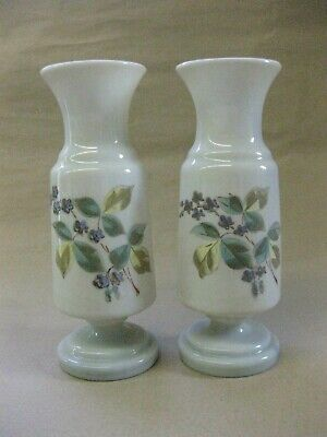 Pair of Antique Opaline Glass Vases ~ Hand Painted Flowers ~ Bohemian?