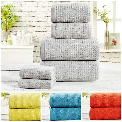 Luxury Waffle Check 100% Cotton Bath Towel Bales Sets Quality Bathroom Linen