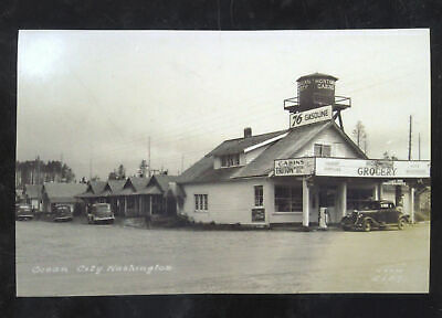Real Photo Ocean City Washington Grocery Store Gas Station Postcard Copy