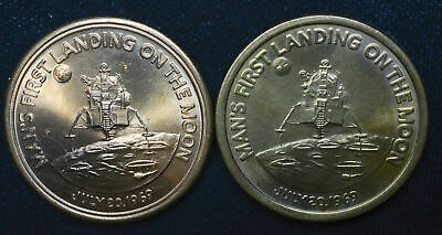 Mans First Landing on Moon Mission Apollo 11 Bronze Medals Lot of 2 39mm