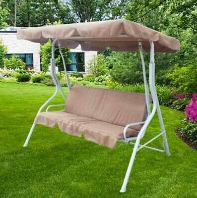 3 Seater Garden Swing Chair Canopy Outdoor Patio Hammock Bench Seat Steel New