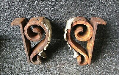 """HAND FORGED ANTIQUE WROUGHT IRON ZINC ACANTHUS LEAF BRACKETS CORBELS 6"""" high  B"""