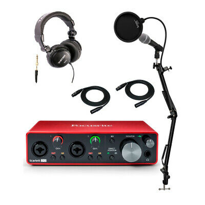 Focusrite Scarlett 2i2 3rd Gen Interface with Headphones, Microphone Bundle