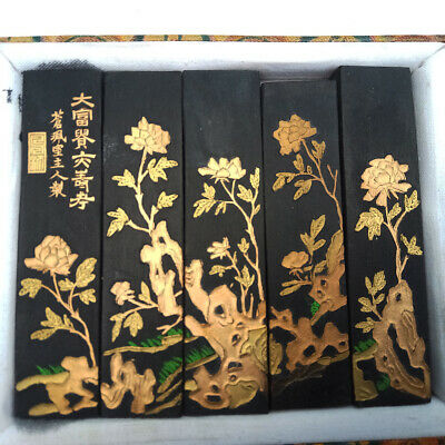 5 Stick Traditional Chinese Calligraphy Ink Golden Carved Continuously Picture