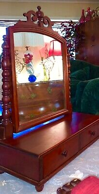 Antique Dressing Table Vanity Top Tilting Mirror 2 Dovetail Drawers,Cherry Wood