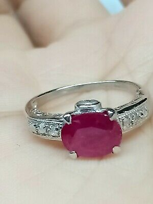 Pave Diamond Ring 925 Sterling Silver Rings Ruby Gemstone Amazing Antiqued Rings