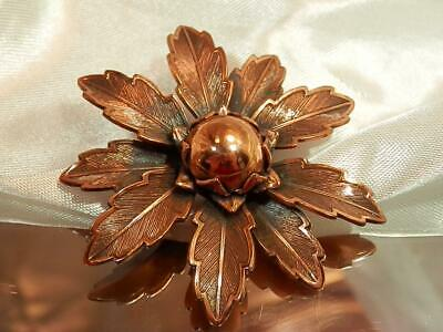 Lovely Antique Copper Large Flower Vintage 1970's Very Pretty Brooch   513jn9
