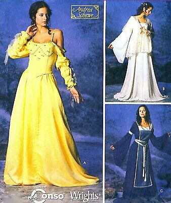 RARE! MS PADME MEDIEVAL RENAISSANCE COSTUME SEWING PATTERN 12-20 Simplicity 5843