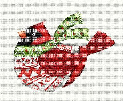 "*2019* ""Nordic Red Cardinal"" HP Needlepoint Ornament Canvas by L. Siebert ~ Pony"