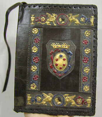 Vtg Antique Leather Book Cover Embossed Shields Griffins Floral