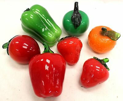 Collection Of 7 Assorted Glass Fruit & Vegetables Ornaments - M13